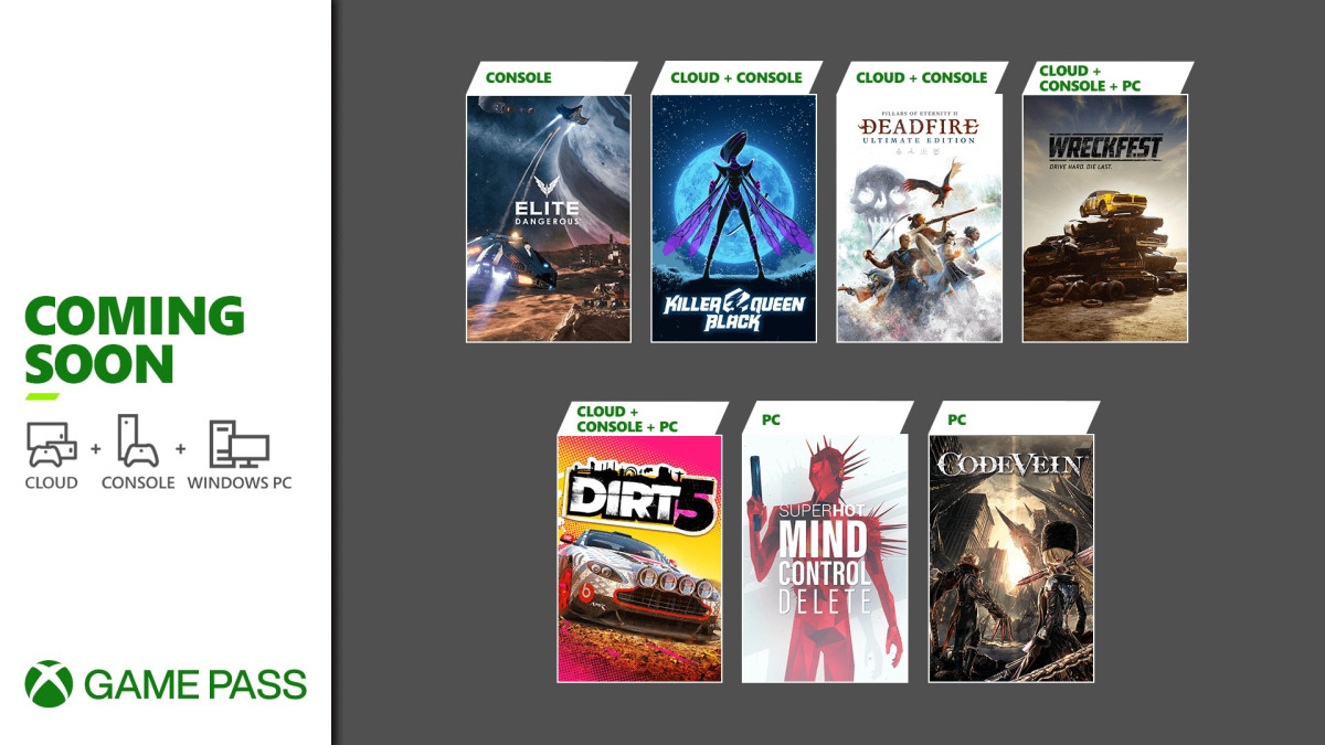Февральское пополнение Xbox Game Pass: Code Vein, DiRT 5, Pillars of Eternity II: Deadfire и другие